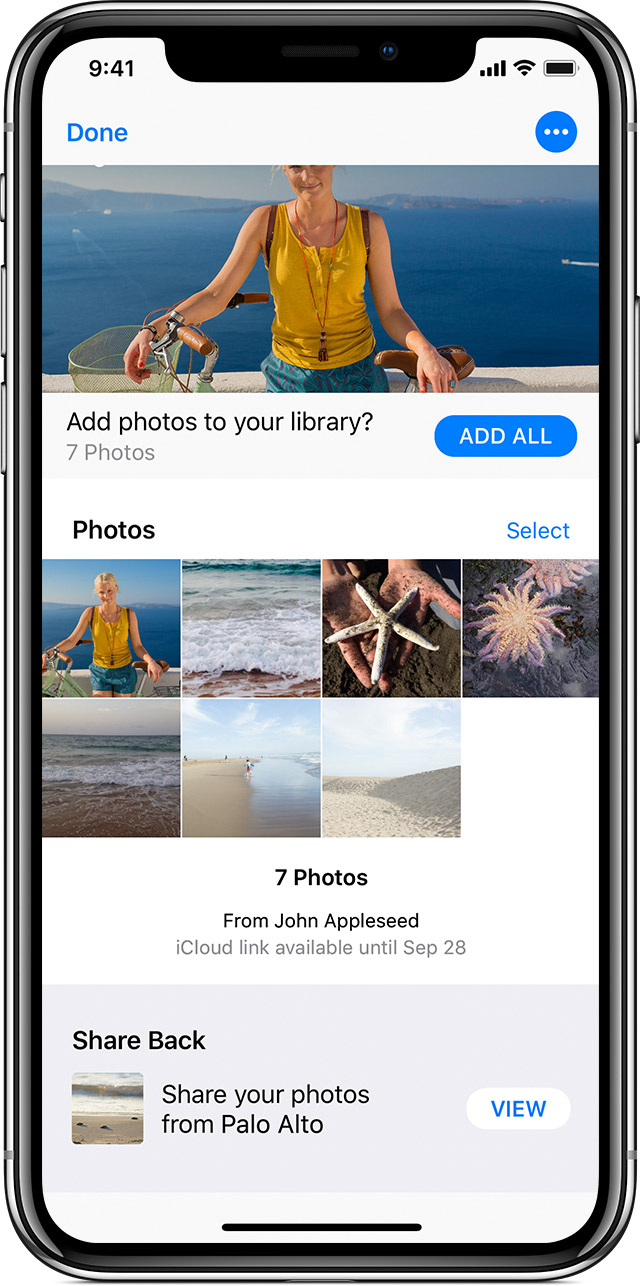 adding shared photos to your own library