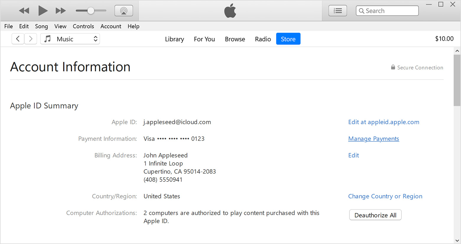 Account Information page in iTunes showing payment information, billing address, and other information related to Apple ID.