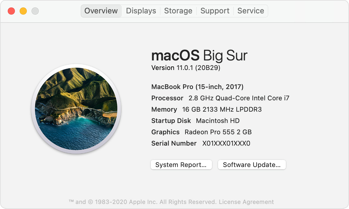 About This Mac window