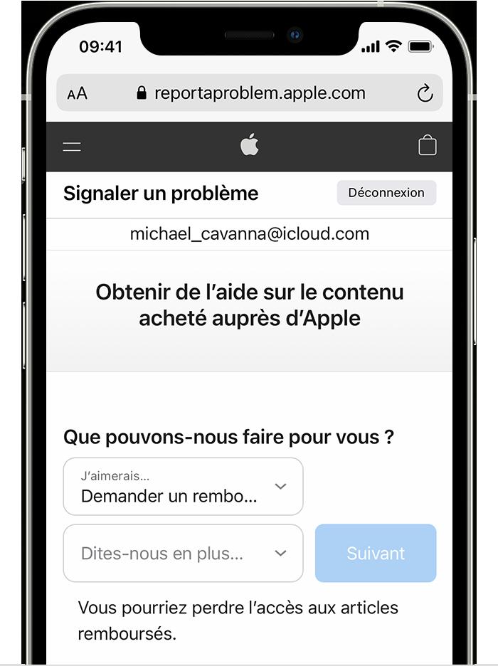 iPhone affichant le site web «Signaler un problème» sur lequel vous pouvez demander un remboursement. Après avoir choisi «Demander un remboursement», choisissez le motif de votre demande.