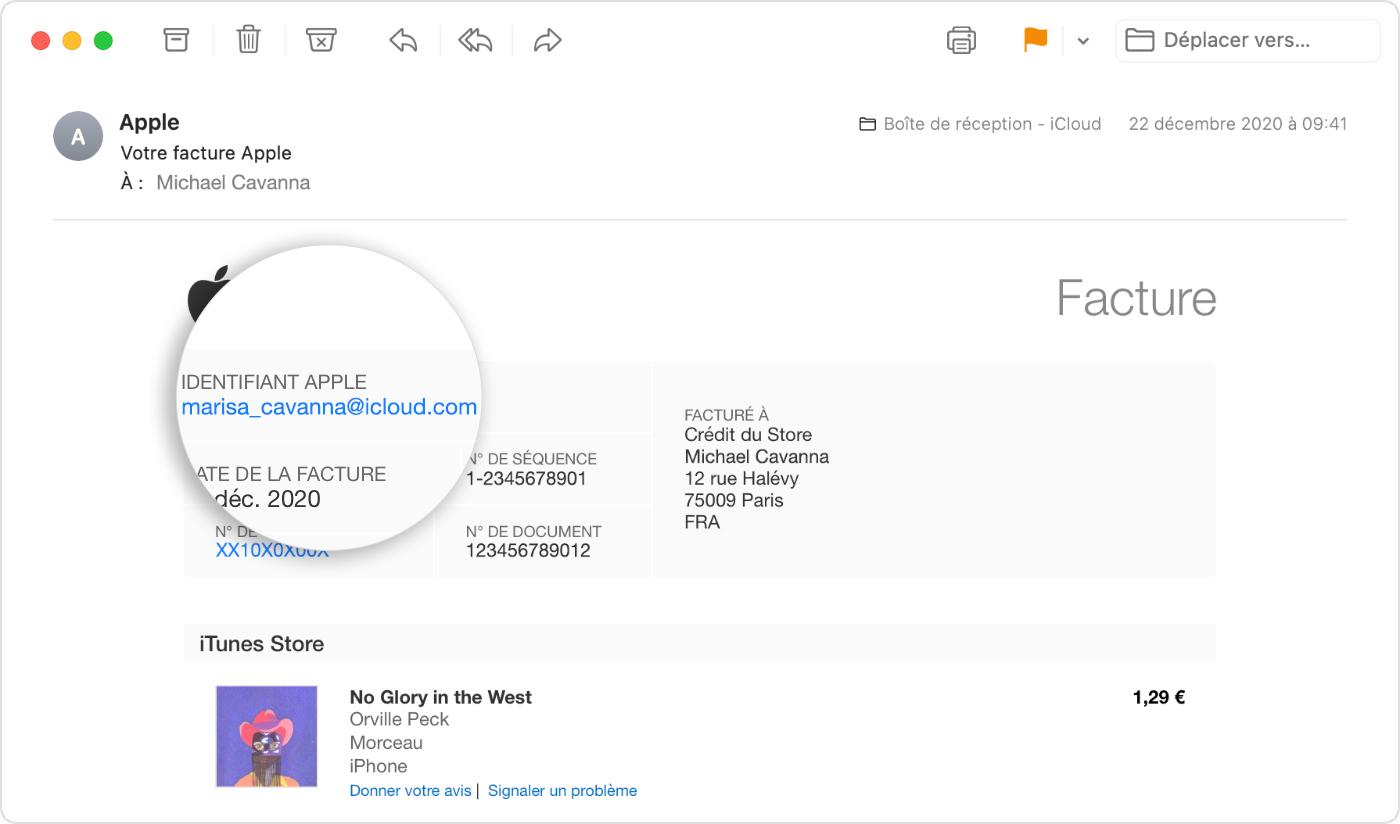 E-mail montrant un reçu Apple, avec l'identifiantApple de la personne ayant effectué l'achat