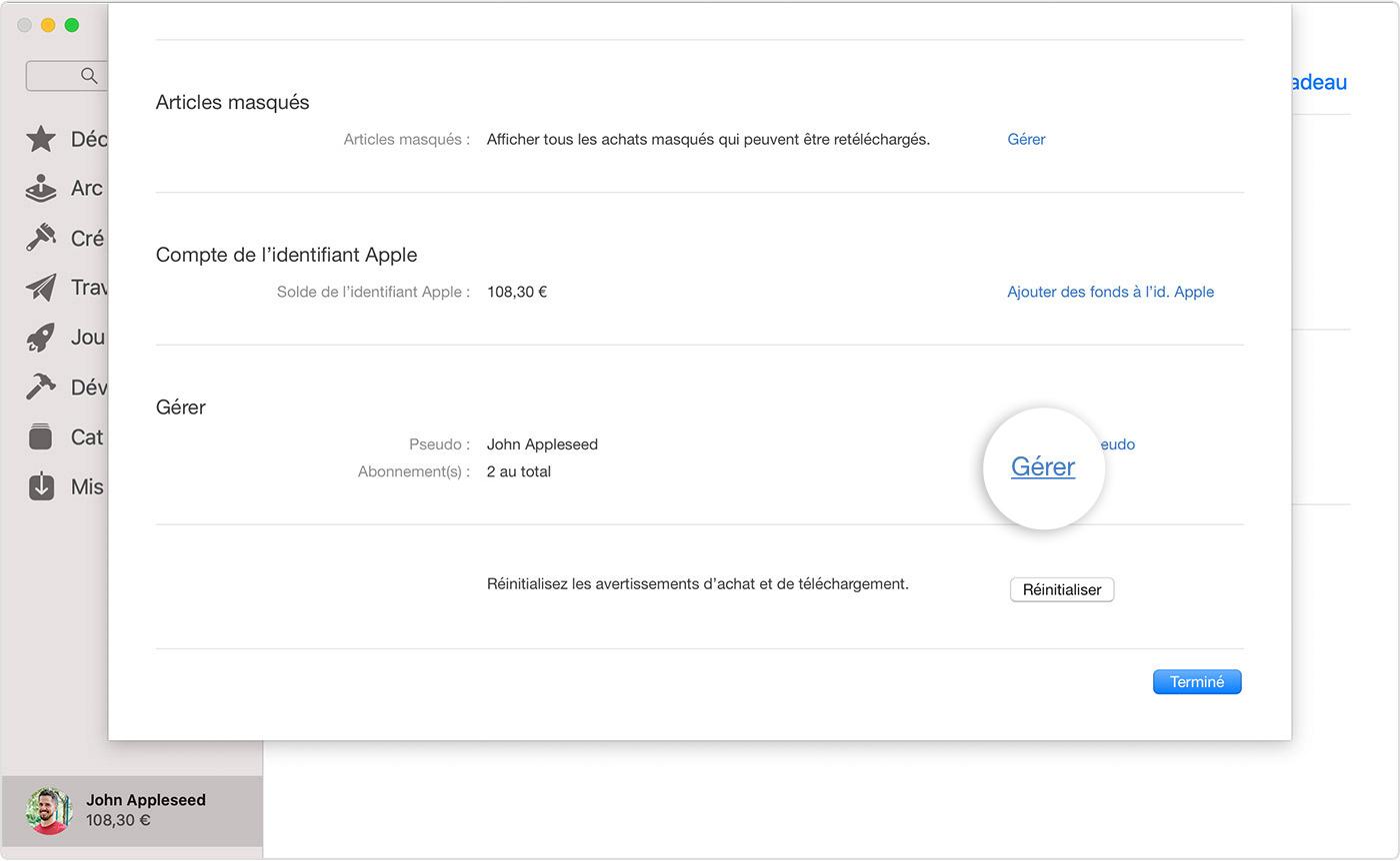 AppStore sur Mac affichant le bouton Gérer à côté des abonnements.