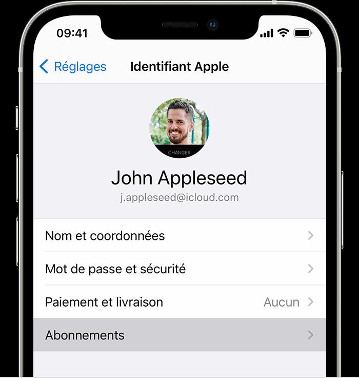 iPhone affichant l'option de menu Abonnements dans Réglages