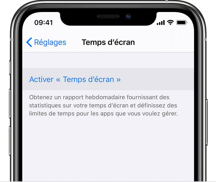 Réglages de l'iPhone avec l'option «Activer Temps d'écran» sélectionnée