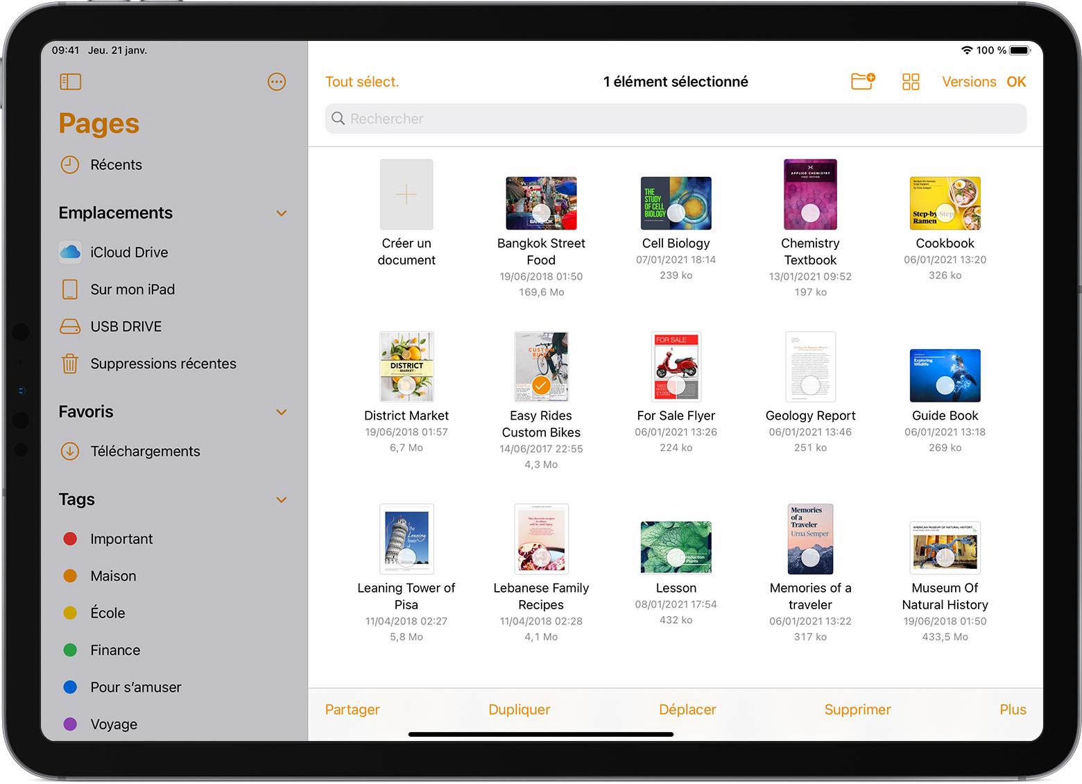 iPadPro avec l'explorateur de fichiers de Pages ouvert et un fichier sélectionné