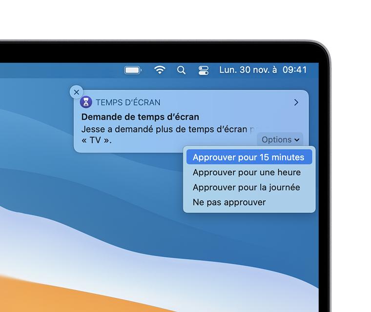 Notification de demande de Temps d'écran sur le bureau macOS
