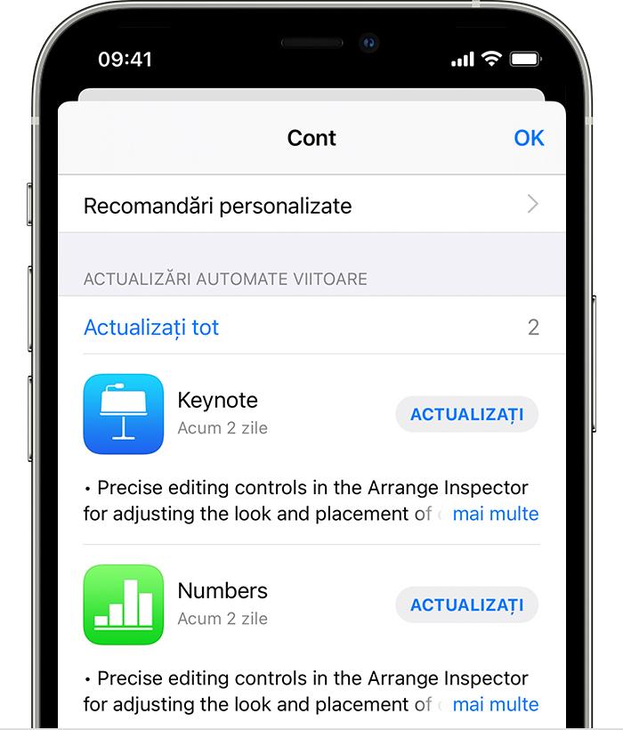iPhone care afișează actualizările disponibile pentru aplicația Apple Store și aplicația Shazam.