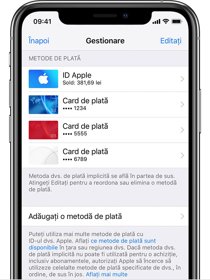 iPhone care afișează metode de plată, inclusiv soldul ID-ului Apple și cardurile de credit.