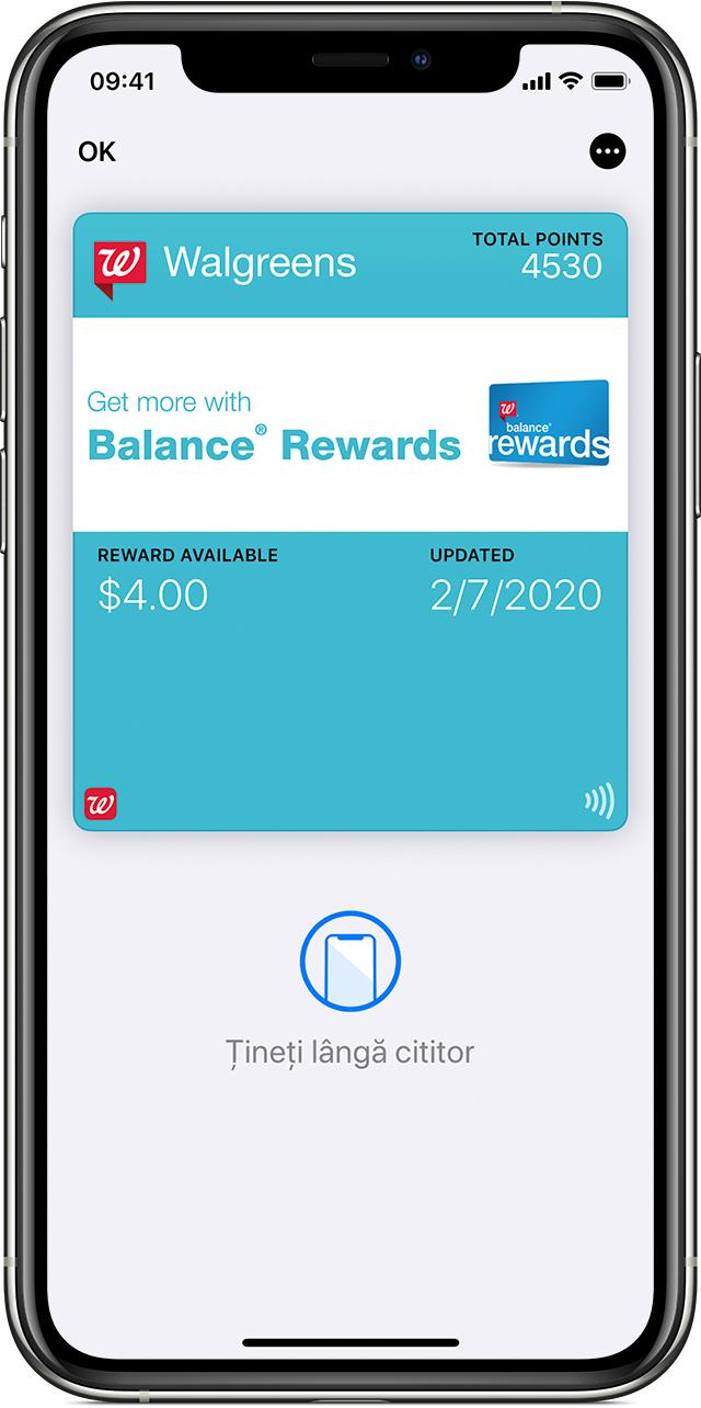 Vizualizarea cu cardurile de recompense din aplicația Wallet