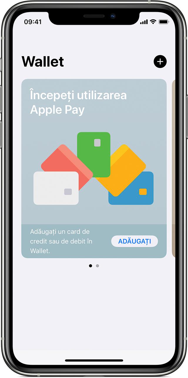 În aplicația Wallet, atinge pictograma plus pentru a adăuga un card.
