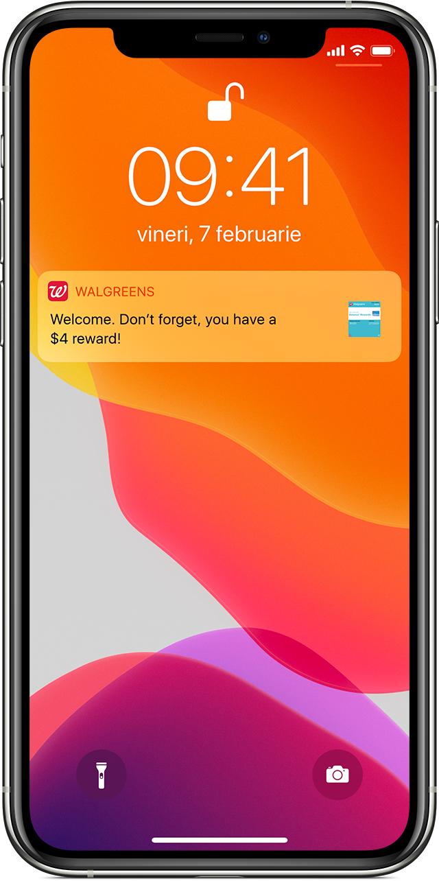 Notificare legată de tichetele din aplicația Wallet pe ecranul de blocare