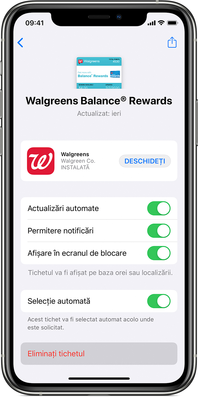 Ecranul Eliminați tichete din Wallet