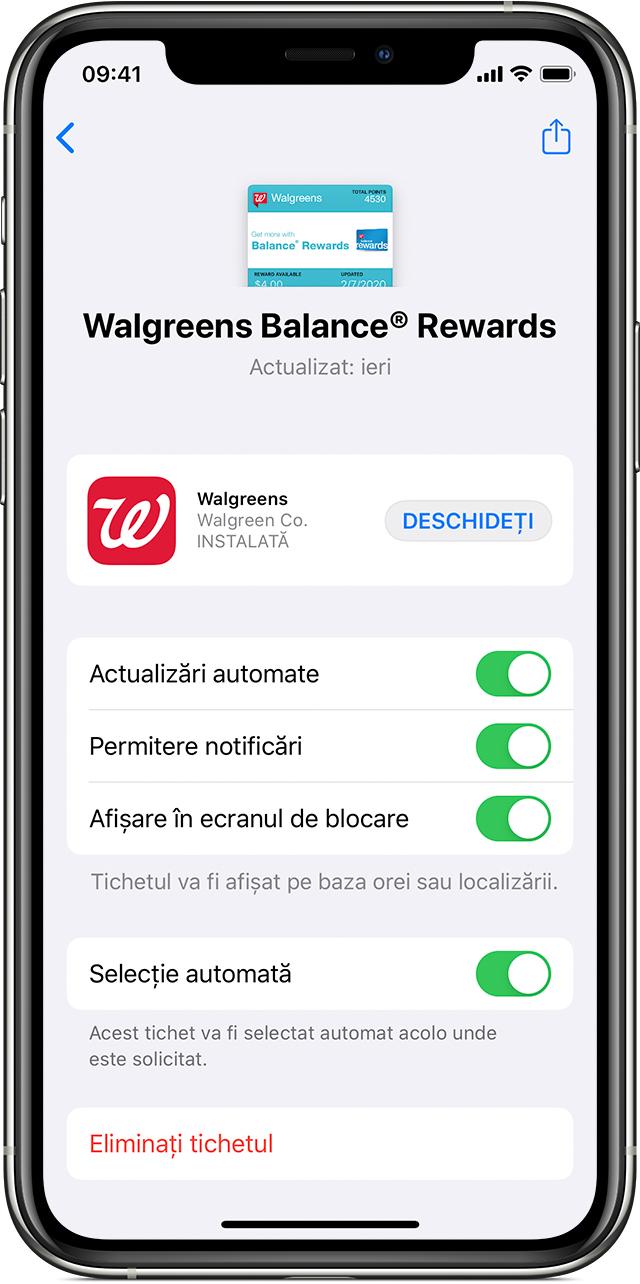 Ecranul de modificare a configurărilor unui tichet în aplicația Wallet