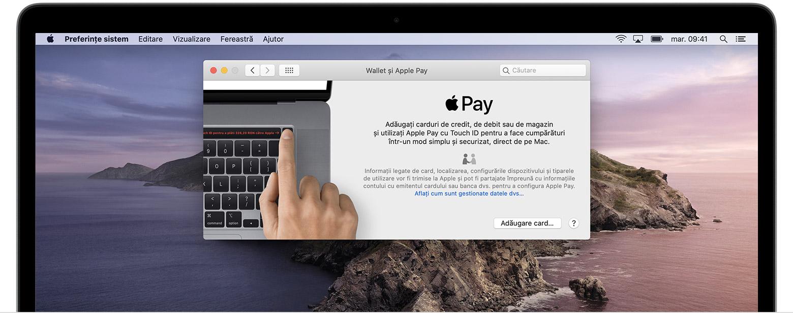 Adăugarea unui card în ApplePay pe Mac