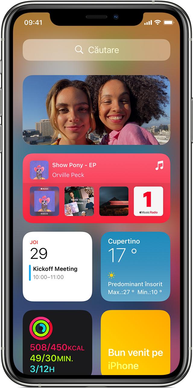 iPhone care afișează widgeturi în Informațiile zilei
