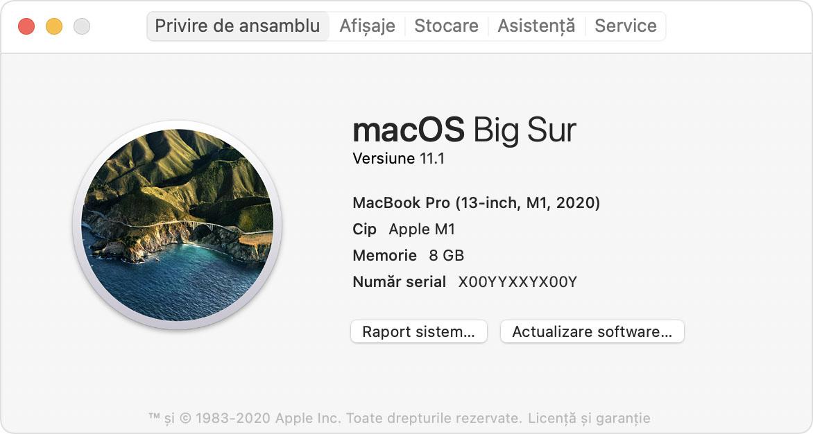 Fereastra Despre acest Mac