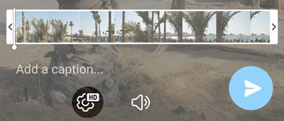 New button for selecting video quality when sending a video.