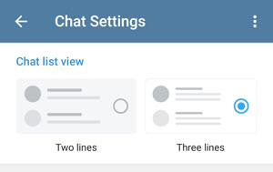 Chat settings, choose between two or three lines per chat