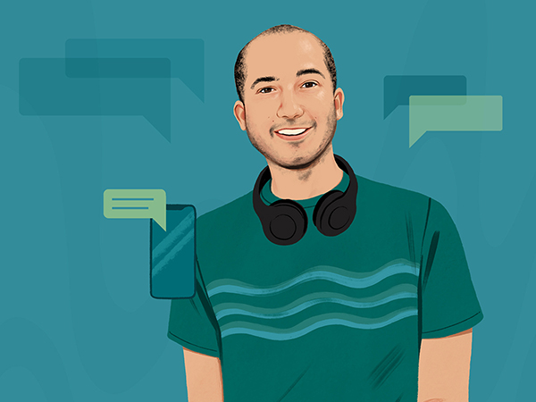 Portrait illustration of a man wearing headphones with graphical text boxes in the background