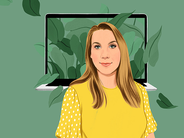 Portrait illustration of a woman with a MacBook and greenery in the background