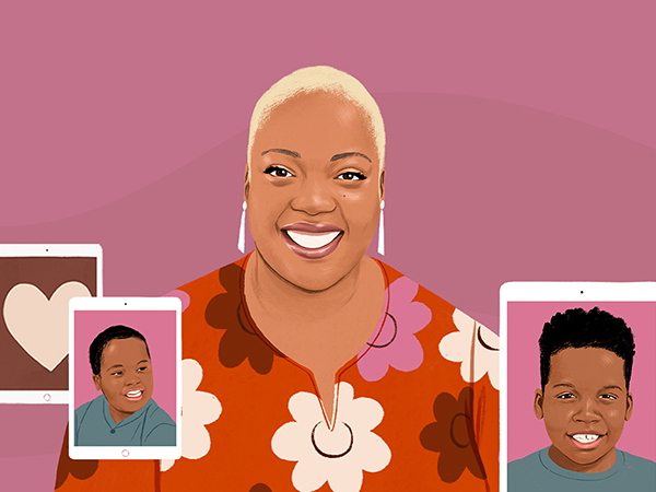 Portrait illustration of a smiling woman next to iPad devices depicting a photograph of a child and a drawing of a heart