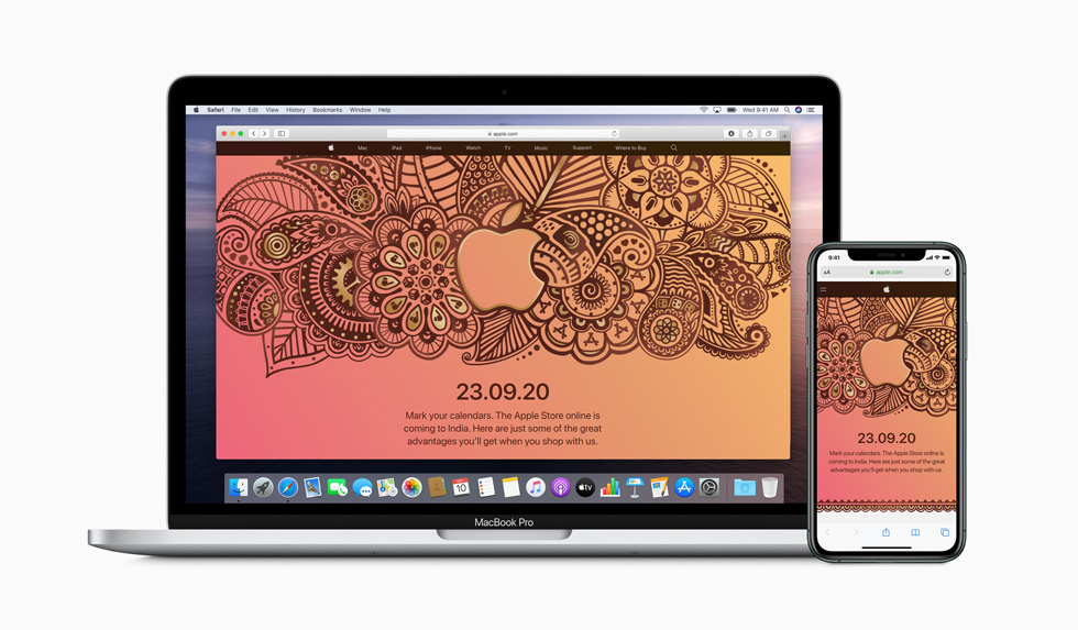 A launch announcement for the Apple Store online is displayed on MacBook Pro and iPhone 11 Pro.