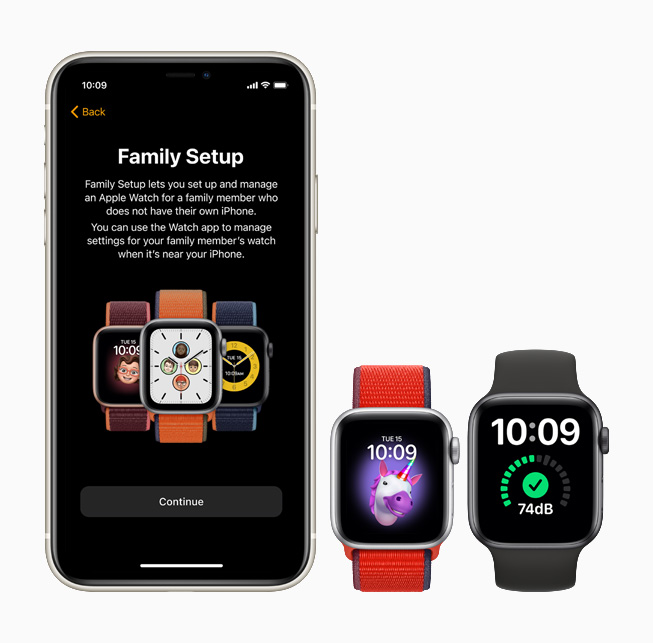 Family Setup feature displayed on iPhone 11 Pro, Apple Watch SE, and Apple Watch Series 6.