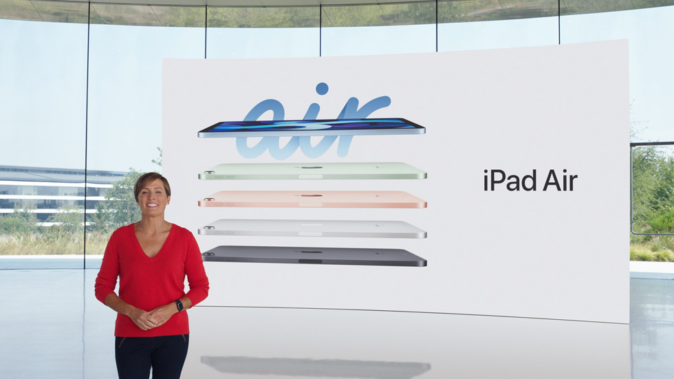 Laura Legros presents the colours of iPad Air, including sky blue, green, rose gold, silver, and space grey.