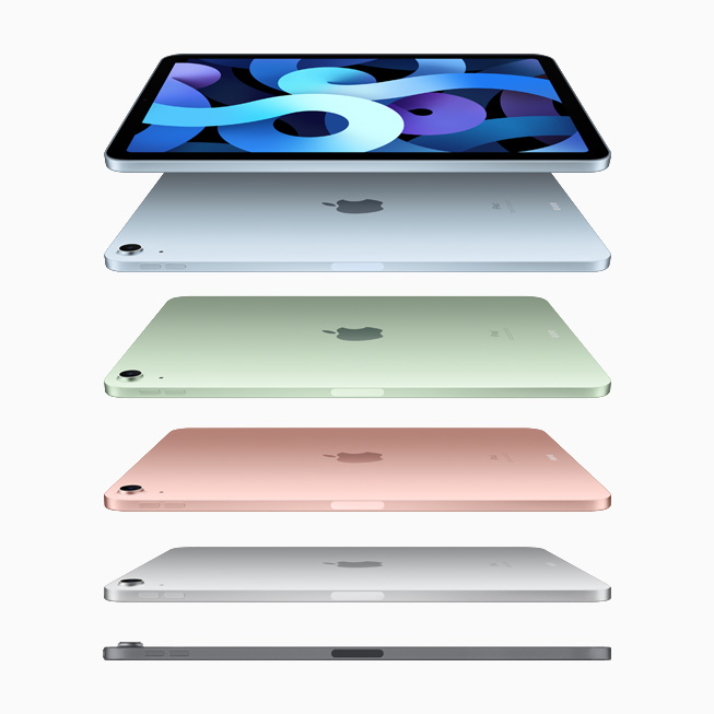 A family shot of the new iPad Air in sky blue, green, rose gold, silver, and space grey.