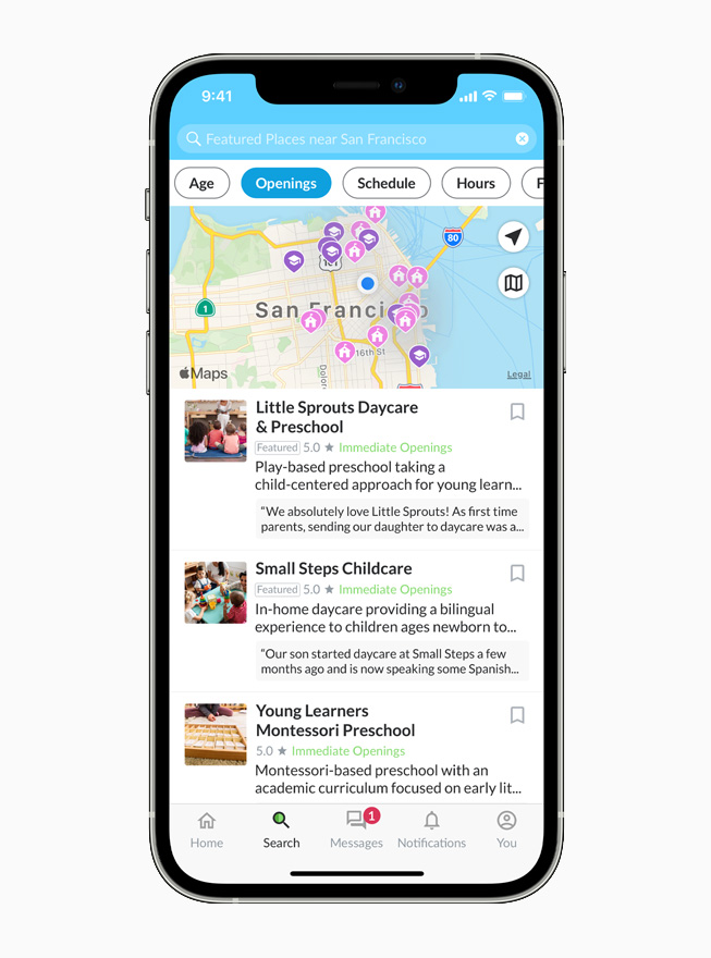 A map showing featured childcare providers in San Francisco in the Winnie app on iPhone.