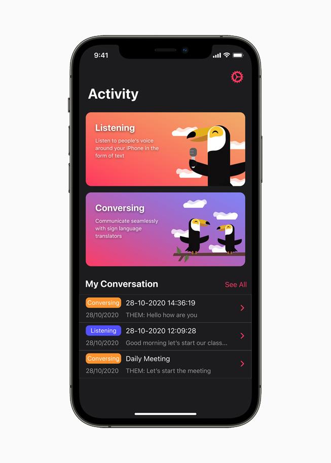 The Hearo app displayed on iPhone 12 Pro.