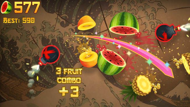 "A still from the game ""Fruit Ninja Classic."""
