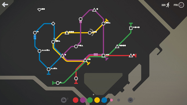 "A still from the game ""Mini Metro."""