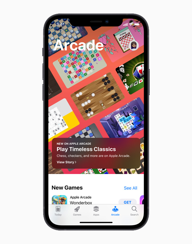 App Store Greats on Apple Arcade, displayed on iPhone 12.