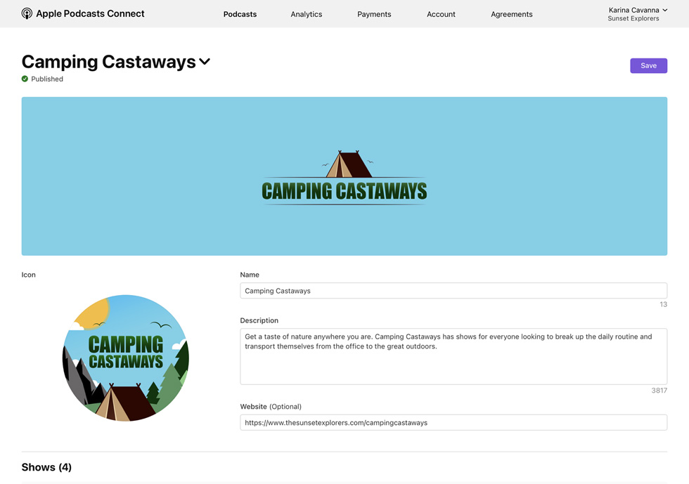 The Apple Podcasts Connect channel Camping Castaways.