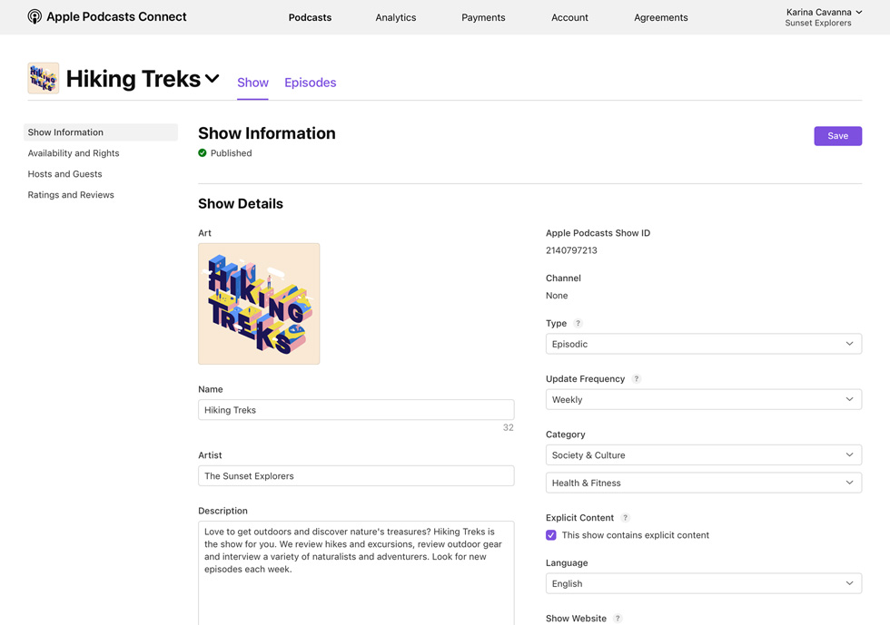 An Apple Podcasts Connect page displays show information for the podcast Hiking Treks.