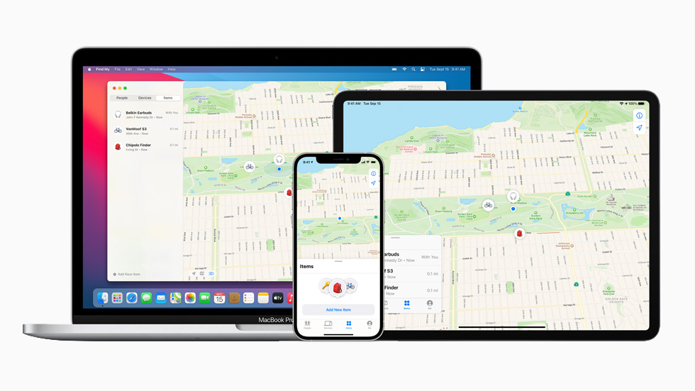 The Find My app displayed on MacBook Pro, iPad Pro, and iPhone 12 Pro.