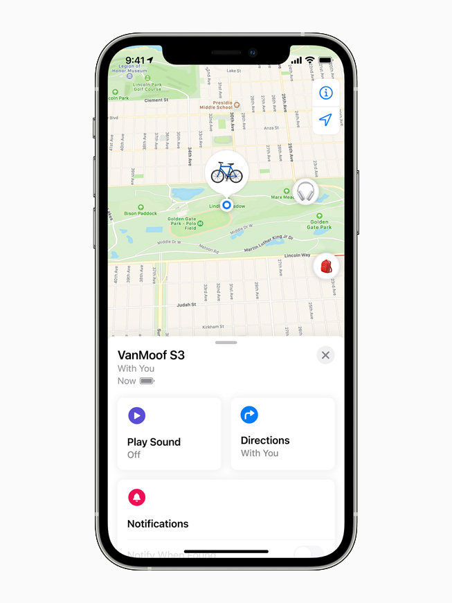 The VanMoof S3 displayed on the Find My app on iPhone 12 Pro.