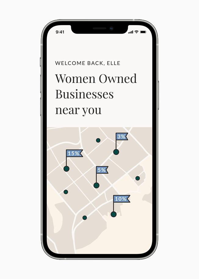 Pinned locations of women-owned businesses on the Ellevest app, displayed on iPhone 12 Pro.