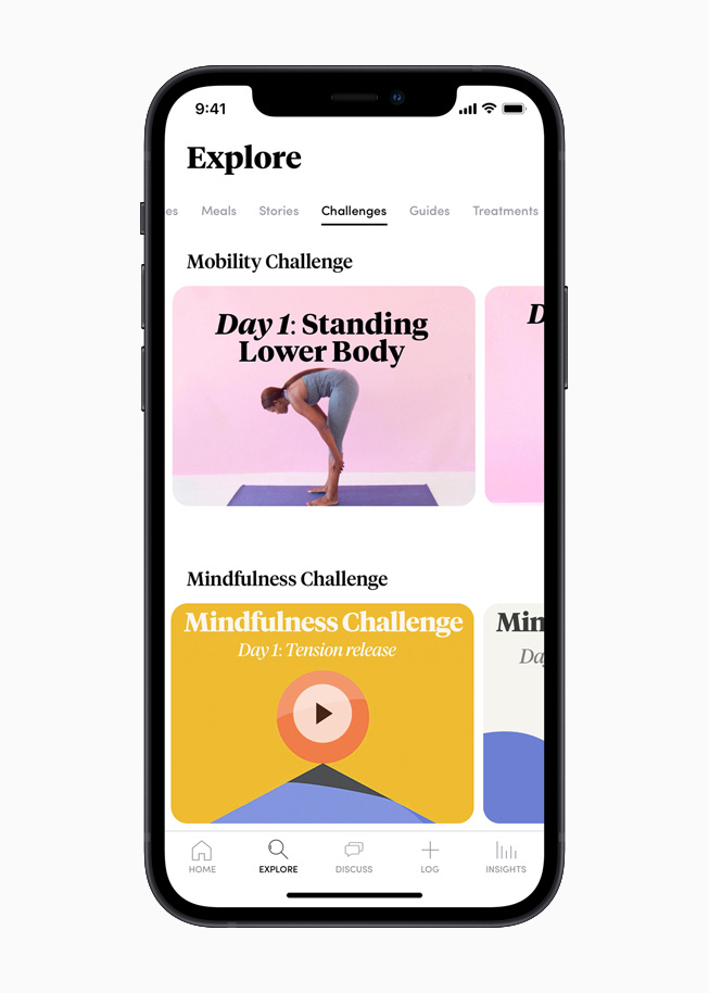 The Explore section of the Caria app, displayed on iPhone 12.