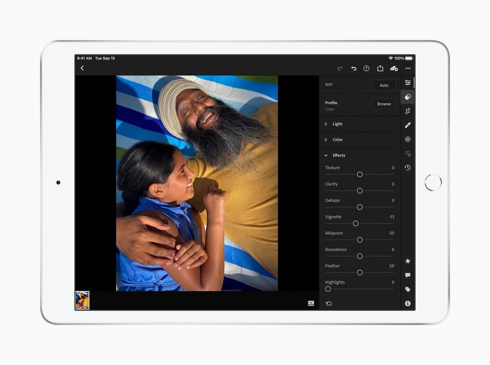 Editing an image on iPad with Adobe Lightroom.
