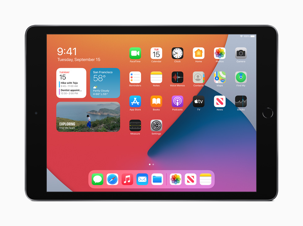 iPad showing the redesigned Home Screen.