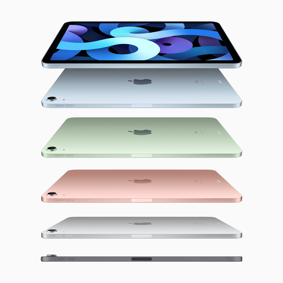 iPad Air in sky blue, green, rose gold, silver, and space grey.