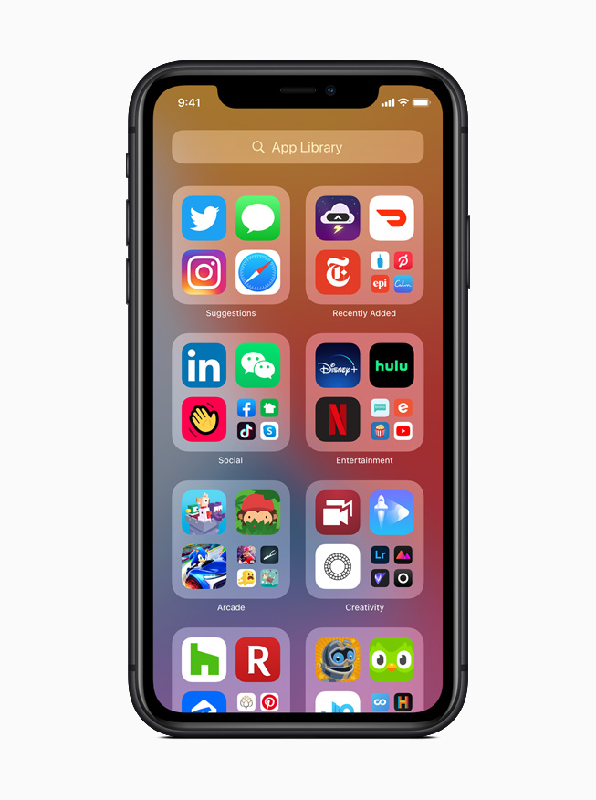 The new App Library in iOS 14 displayed on iPhone 11 Pro.