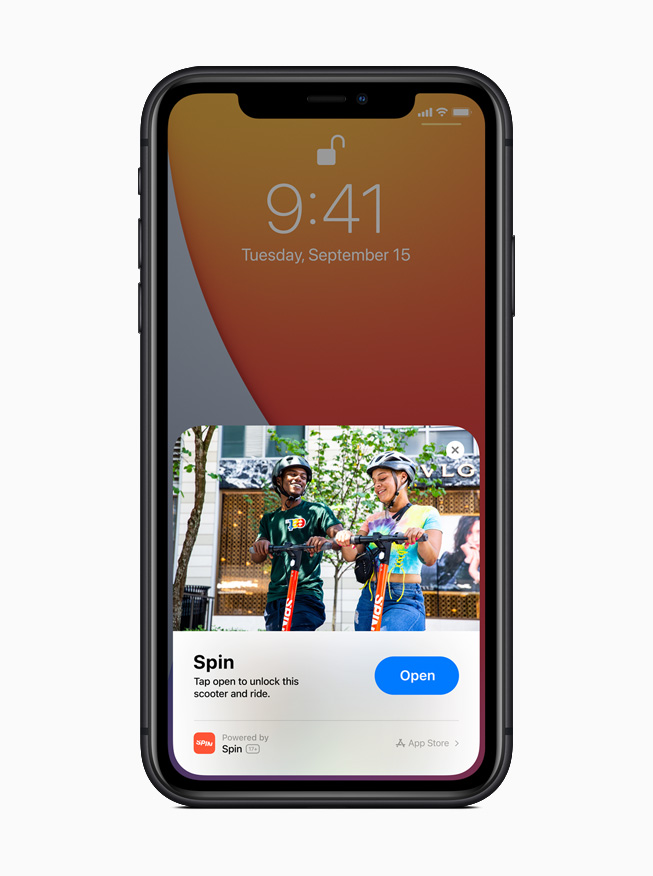 An App Clip for the Spin app displayed on iPhone 11 Pro.
