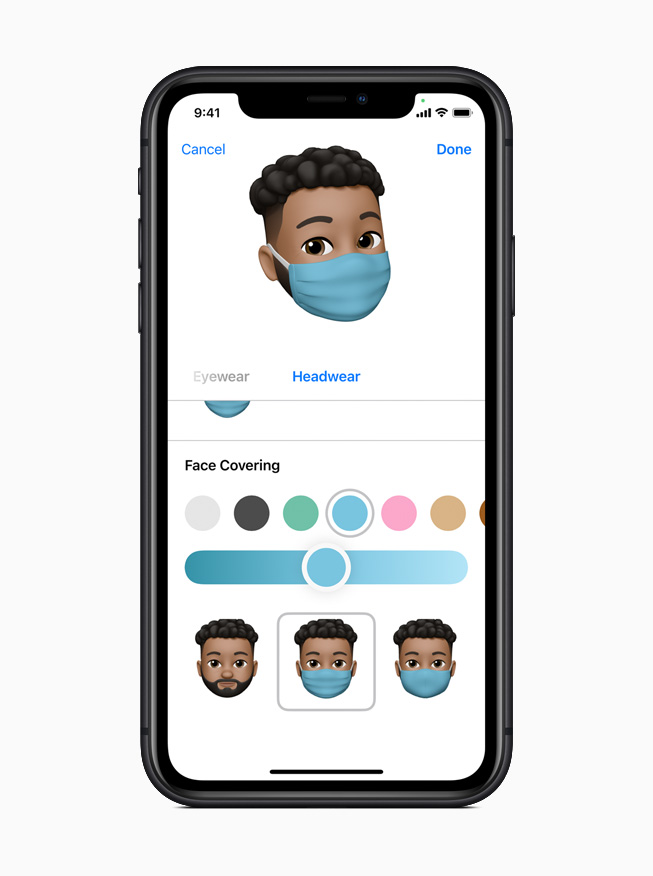 New Memoji customisation options in iOS 14 displayed on iPhone 11 Pro.
