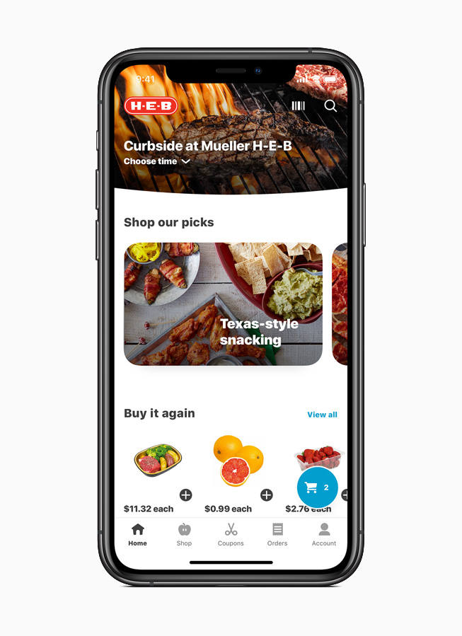 The My H-E-B app displayed on iPhone 11 Pro.