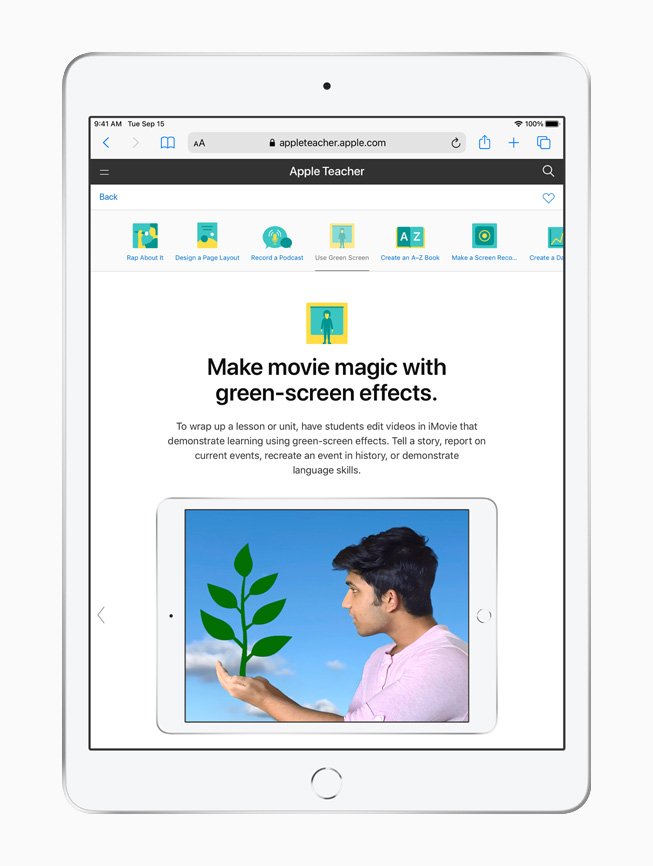 A green-screen effects lesson on Apple Teacher Portfolio, displayed on iPad.