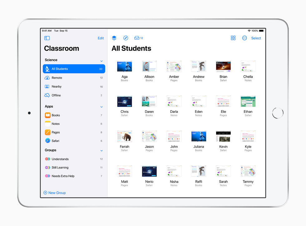 The Classroom app, displayed on iPad.