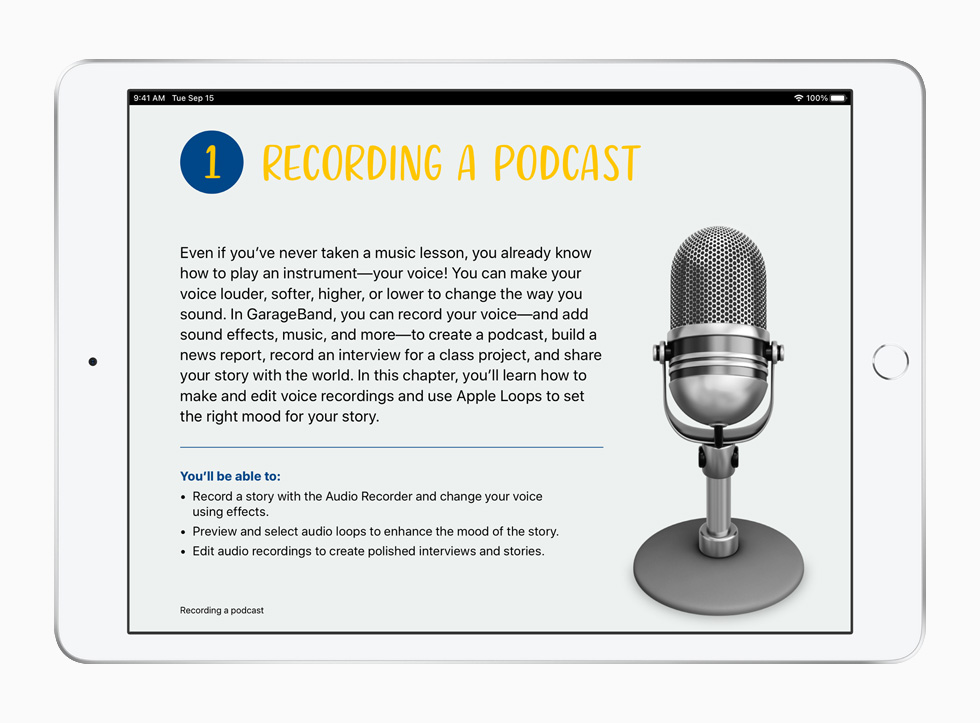 A podcasting lesson from the Everyone Can Create curriculum, displayed on iPad.